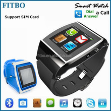 TOP Bluetooth Sync Audio Play Pedometer dual sim wrist watch mobile phone