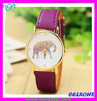 Promotion leather band wrist fashion lady watch waterproof
