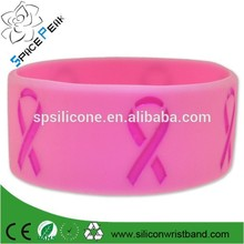 de color rosa del cáncer de mama conciencia de ancho de la cinta de goma de silicona pulsera