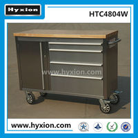 Stainless steel roller cabinet wood top 48 Inch husky work bench with 4 drawers