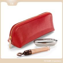 Leather Fashion gold metal zipper Cosmetic Bags, Girl metal zipper Makeup case