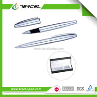 Customized silvery white metal ball pen , ball pen