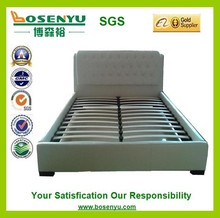 Modern leather bed,white leather bed,top grain pu leather bed