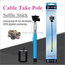 Plug and Play, Portable Cable Selfie Stick, Wired Selfie Stick for Samsung Galaxy S6 edge