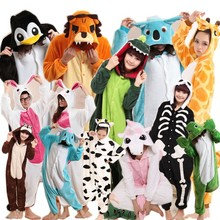 Newest various type unisex animal pajamas onesie made of thick warm flannel fits for adult&children animal pajamas