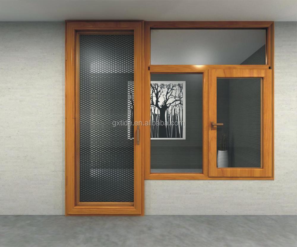 Tan90 seguridad mosquitera ventana de aluminio + madera marco de la ...