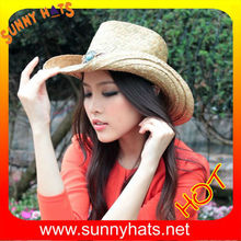 100% rush straw cowboy western hats with leather and rhinestone