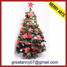 Colorful ball decorated plastic apple hanging red top star pine needle christmas tree 2015 new products wholesale