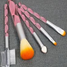 Hot sale 5pcs mini set makeup sets wool hair plastic handle cosmetic makeup brush set