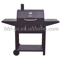 adjustable height outdoor charcoal grill movable trolley charcoal bbq enamel coated folding trolley barbecue charcoal grill ware