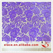 Garment accessories metal trims purple chemical lace fabrics flower embroidery pattern