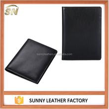 Genuine Leather Passport Bifold Mens Travel Wallet (Black)