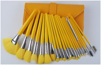 New Whole Yellow handle with yellow nylon hair cosmetic brushes with yellow makeup bag