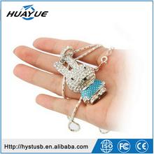 shenzhen promotional gift wholesale customzie crystal animal rabbit shape usb memory stick