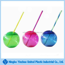 plastic ball shape drinking cup with lid and straw