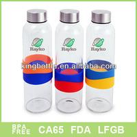 Small order Borosilicate Glass bottle,silicone band drinking bottle, Sports bottle