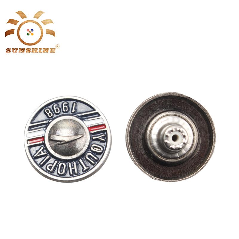 Unique design logo vêtement résine émail alliage boutons
