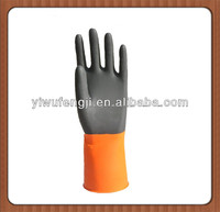2015 Hot Sale black and orange industrial latex gloves