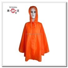 new style high quality easy carry orange polyester rain poncho