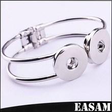 Wholesale Expandable Silver Plated Metal base double interchangeable snaps Bracelet Bangle