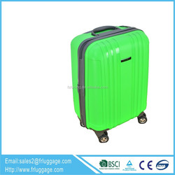 2014 green portable trolley luggage with airline luggage tags