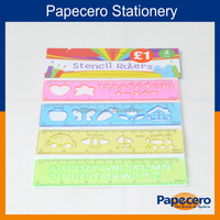 16cm colourful plastic stencil scale ruler with letter or number or orther shape