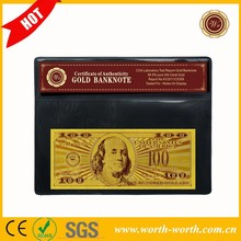 Wholeasle $100 Dollars Gold 99.9 US Banknote Bill With Frame And Certificate Mixed Purchase