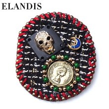 ELANDIS fashion handwork diamond jewelry unique oil painting cloth brooch
