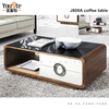 Modern glass table top wooden coffee table/MDF coffee table J809A
