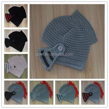Wholesale Kids Hats Cute Crochet Pattern Knight Helmet Hat milk cotton Yarn Infant Crochet Caps Fancy