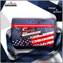 2015 New Design Mens large PVC leather messenger bags with US flag