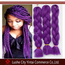 Fashionable purple kanekalon synthetic yaki straight x-pression hair braids/fake hair extensions for hair braiding cheap price