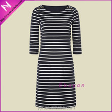 office lady daily modest black and white stripe dress