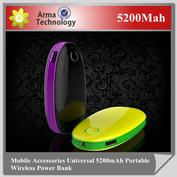 New high capacity 5200mah power bank, cell phone universal portable power bank