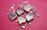 Unique Design DIY Hearts Shape Floating Locket Charms Necklace