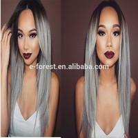 Black Friday Cheap 130% Density Dark Root Grey Human Hair Wigs With Layer