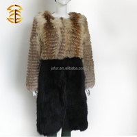 High Quality 2015 European Style Lady's Real Fox Fur With Rabbit Fur Black Coat