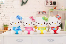 18cm Wholesale customized lovely white stuffed plush Hello kitty cat doll toy with printed bowknot,skirt,rompers(4 assorted)
