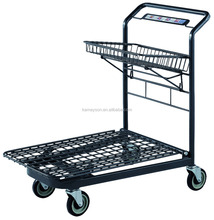 One basket flat cart with 4 wheels