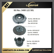Auto truck Actros clutch repair kit 3400122501 , clutch cover 3482081232 , clutch disc 1878634027 , bearing 3151000278