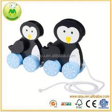 2015 Qiqu Baby toys Penguine Pull Along Baby/Toddler/Child Wooden Toys for children Walking