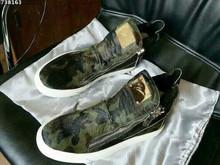 men/women fashion sneakers side zipper and back zipper camouflage genuine leather women sneakers