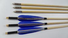 Turkey feather blue arrow broadhead wooden archery arrow for recurve bow shooting
