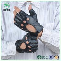 Men's black sheepskin fingerless gloves driving car leather gloves