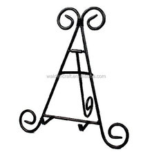 Metal Wrought Iron Easel w/Powder Coated Finish,Black Iron Display Stand Holds Cook Books, Plates, Pictures