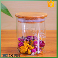small size glass tea jar canister bamboo lid