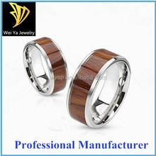 wholesale jewelry fashion inlay koa wood bevel tungsten wedding ring