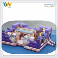 inflatable fun city with jumping bouncer and indoor play as kids bed entertainment game