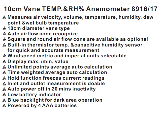 AZ-8916 10cm Vane TEMP&Anemometer Measures Air Velocity Volume Temperature Tester AZ8916