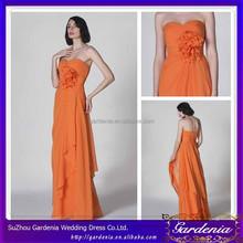 New Elegant Sweetheart Neck Handmade Flower Pleated Empire Waist A-line Long Length Orange Colour Party Dress(SA1055)